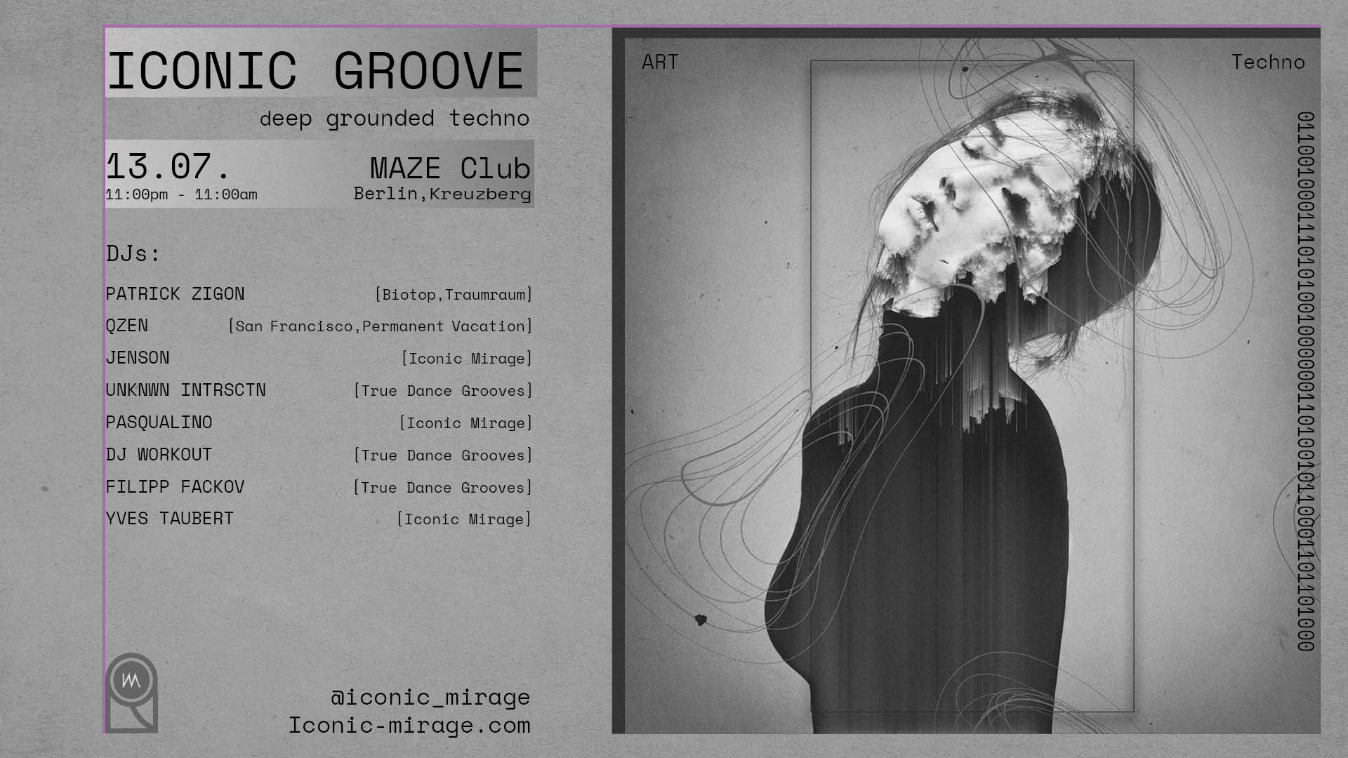 Iconic Groove Techno Event Flyer 13.07.2019